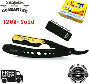 Professional Barber Hair Shaving Razor Straight Edge Folding Knife + 100 Blades