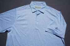 Donald Ross Casual Stretch Polo Golf Shirt. Point O'Woods, Blue Check. L, Mint!
