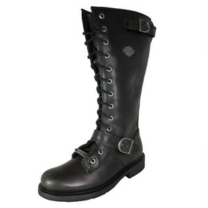 Harley Davidson Womens Jill Tall Lace Up Motorcycle Boot Shoes