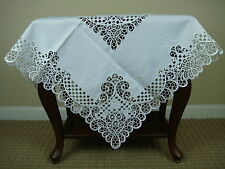 """Elegantlinen White Embroidered Cutwork Embroidery Fabric 36x36"""" Tablecloth"""