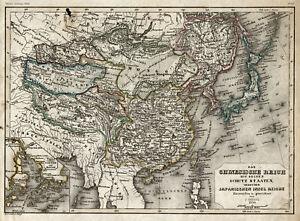 China Japan Original Stahlstich Landkarte Bibl. Inst. 1860