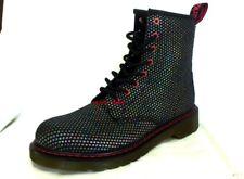 New Womens Dr Martens Delaney Boots 6 BLACK Rainbow Technicolor Leather doc punk