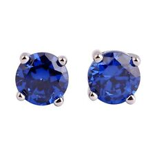 1 Ct Simulated Sapphire Tanzanite Round Cubic CZ Silver Plated Stud Earrings 6mm