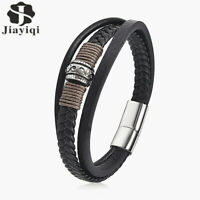 JYQ Men's Multilayer Leather Bracelet Magnetic-Clasp Bangle Wedding From China
