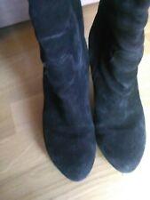 lotto 862 scarpe stivali stivaletti alti camoscio neri donna n.37