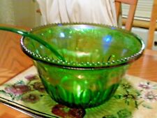 Carnival glass green punch bowl and ladle