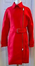 J.CREW BELTED ZIP TRENCH COAT IN WOOL MELTON SIZE 14 BRILLIANT FLAME E4396