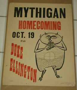 DUKE ELLINGTON ORIGINAL CONCERT POSTER U OF MICHIGAN HOMECOMING 10/19/1957