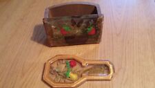 WOOD/LUCITE/RESIN STRAWBERRY DESIGN RECIPE BOX AND APPLE & PEAR LUCITE SPOON RE