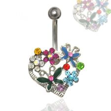 MULTI GEM STONE HEART BELLY BUTTON RING BUTTERFLY & FLOWER DESIGNED NAVEL BAR