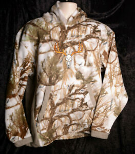 Mens Cabelas True Timber Fleece Hoodie Snow Camo SKULL Shirt Hunting LARGE ~ NEW