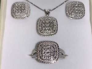 SPARKLING* Kay Jewelers Sterling Silver Diamond Ring Necklace Earring Trio Set