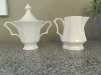 NIKKO Classic Collection White Sugar Lid & Creamer JAPAN Excellent Condition