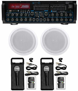 "Technical Pro MM2000BT Bluetooth Karaoke Mixer System+(2) 8"" Ceiling Speakers"