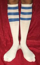 Old School Tube Socks Under KNEE HIGH BLUE / WHITE Striped Pattern Women's 9-11
