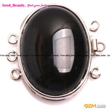 Big Findings 3 Strands Cabochon Onyx Stone Clasp for Jewelry Making 31mmx32mm