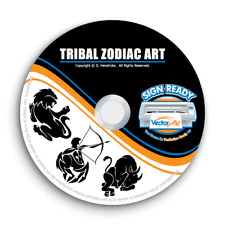 TRIBAL ZODIAC CLIPART -VECTOR CLIP ART IMAGES -VINYL CUTTER PLOTTER GRAPHICS CD