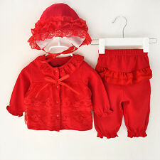Newborn Baby Girls Lace Cardigan Tops+Long Pant+Hat Clothes Set Outfits