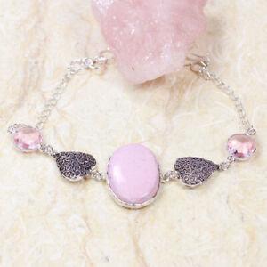 "Pink Agate 925 Silver Plated Handmade Gemstone Bracelet of 8.4"" Ethnic Gift"