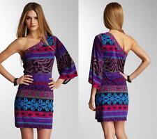 Hale Bob Dress Size XS 2 4 Silk Jersey Shanghai Print One Shoulder Bell NWT $298