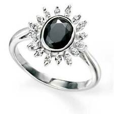 Elements Silver Black and Clear CZ Oval Cluster Ring,size N,CZ, R3319B