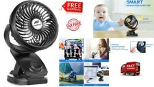 PORTABLE MINI FAN CLIP ON FOR BABY STROLLER USB Rechargeable Battery Operated.