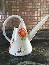 Ceramic For Mom's Plants Watering Can White Flowers
