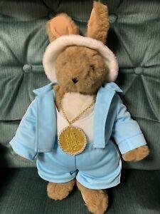 Vintage Vermont Teddy Bear Bunny Rabbit Blue Hip Hop Outfit Rare
