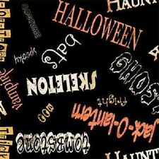 SPOOKY SPECTACULAR BLACK WORDS HALLOWEEN FABRIC