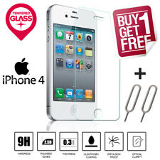 100% Genuine Tempered Glass LCD Screen Protector Film For Apple iPhone 4 4S