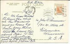 """Hong Kong SG#187 postcard view """"The Tiger Pagoda"""" Airmail to USA"""