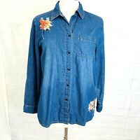 Chico's M Sz 1 Top Tunic Blue Chambray Embroidered Shirt Floral Button Pocket #W