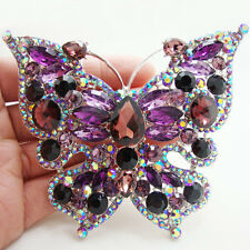 Elegant Purple Butterfly Insect Brooch Pin Rhinestone Crystal Silver-Tone