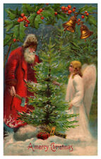Santa Claus with Angel, Cutting Tree