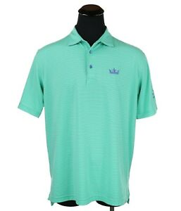 Peter Millar Summer Comfort Golf Polo Men's Size Large Embroidered Crown Green