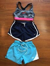 Nike Under Armour Girls Lot (3) Athletic Run Shorts/ Sports Bra- M