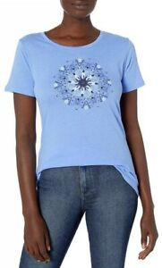 Columbia Women's Small Blue White Cap Heather Butterfly Wing Medallion Tee