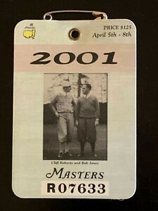 2001 Masters Badge Tiger Woods Wins Ticket Augusta National.