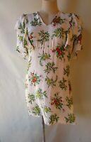 Zara Woman size M/10 white floral print dress short sleeve