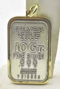 estate 10 Gram Simmons Silver .999 Fine Silver Bar Ingot Gold Vermeil Pendant