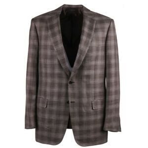 Brioni 'Colosseo' Brown and Purple Layered Check Wool-Silk-Linen Sport Coat 48L
