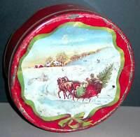 "Old Red Metal Tin Snowy Horse Drawn Sleigh Bringing Christmas Tree 10"" FREE SH"