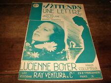 LUCIENNE BOYER - PARTITION J'ATTENDS UNE LETTRE !!!!!!!