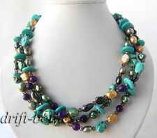 3Strands 19'' Green Champagne Freshwater Pearl Turquoise Crystal Jade Necklace