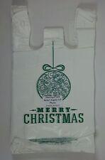 """200 Qty. Green Holiday Ball Plastic T-Shirt Shopping Bags Handles 11.25""""x6""""x 21"""""""