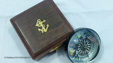 """3"""" Maritime Brass Compass With Magnifying Glass 1941 London Paper Weight Compass"""