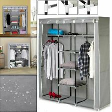 New Foldable Clothes Large Canvas Wardrobe STORAGE Cupboard Shelvings ORGANIZER