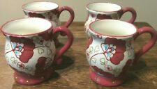 PIER 1 SET OF 4 FLORAL MUGS HAND-PAINTED DOLOMITE ROSE TEAL FLOWERS UNKNOWN PATT