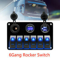 6Gang Blau LED Schaltpanel Schalter Schalttafel Breaker Circuit Auto Bus Boot RV