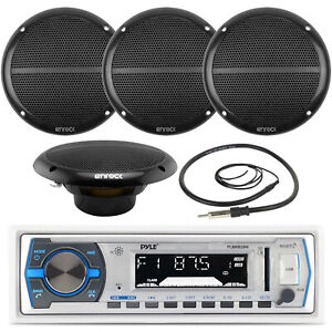 "4x 6.5"" Marine 90W Speakers, Pyle White AM/FM USB AUX Receiver, Marine Antenna"